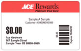 Redeem your ACE Rewards with this card - SAMPLE